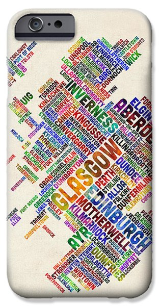 Typographic Map iPhone Cases - Scotland Typography Text Map iPhone Case by Michael Tompsett