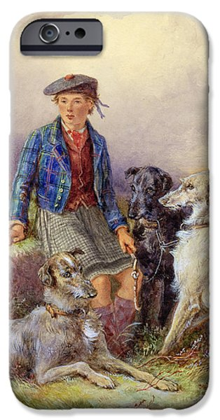 Young Boy iPhone Cases - Scottish Boy with Wolfhounds in a Highland Landscape iPhone Case by James Jnr Hardy