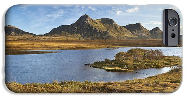 Meadow Photographs iPhone Cases - Scottish Highlands and the mountains of Ben Loyal iPhone Case by Sara Winter