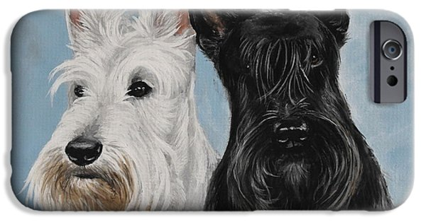 Scottish Terrier Art iPhone Cases - Scottish Terrier iPhone Case by Daniele Trottier