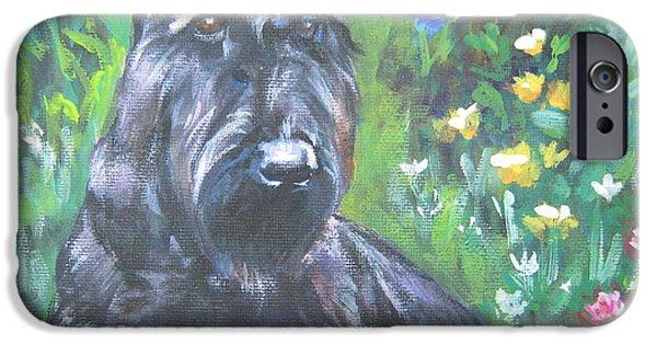 Scottish Dog iPhone Cases - Scottish Terrier in the garden iPhone Case by Lee Ann Shepard