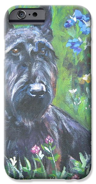 Scottish Terrier in the garden iPhone Case by Lee Ann Shepard