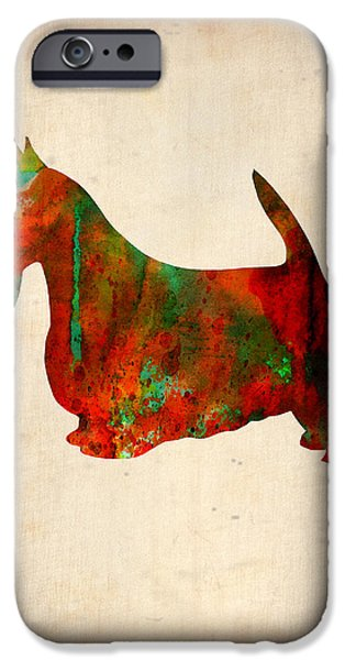 Terrier iPhone Cases - Scottish Terrier Watercolor 2 iPhone Case by Naxart Studio