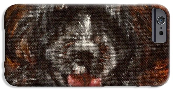 Dog Close-up Paintings iPhone Cases - Scout iPhone Case by Carol Russell