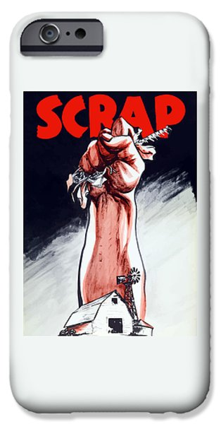 States Mixed Media iPhone Cases - Scrap - WW2 Propaganda iPhone Case by War Is Hell Store