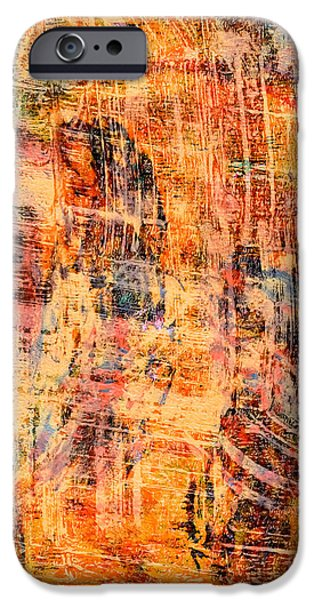 Abstract Digital Mixed Media iPhone Cases - Scratched iPhone Case by Laura L Leatherwood