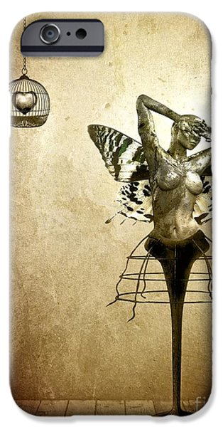 Surrealism Digital Art iPhone Cases - Scream of a Butterfly iPhone Case by Photodream Art