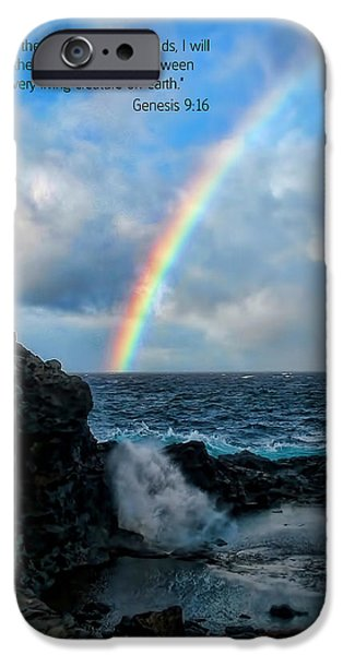 Scripture and Picture Genesis 9 16 iPhone Case by Ken Smith