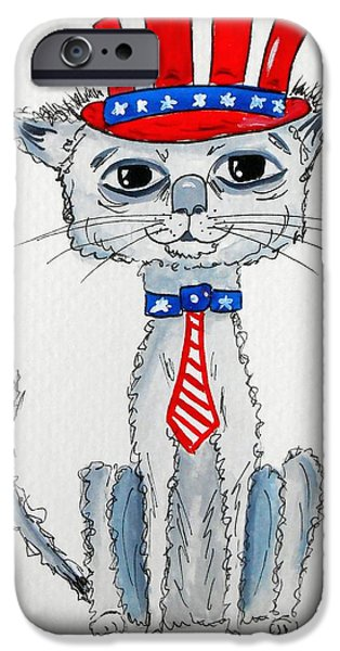 4th July Paintings iPhone Cases - Scruffy Americana Cat iPhone Case by Rita Drolet