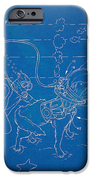 Puppy Digital iPhone Cases - Scuba Doggie Patent Artwork 1893 iPhone Case by Nikki Marie Smith