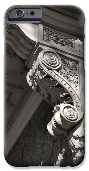 Balcony Reliefs iPhone Cases - Sculpted Balcony Bracket Budapest iPhone Case by James Dougherty