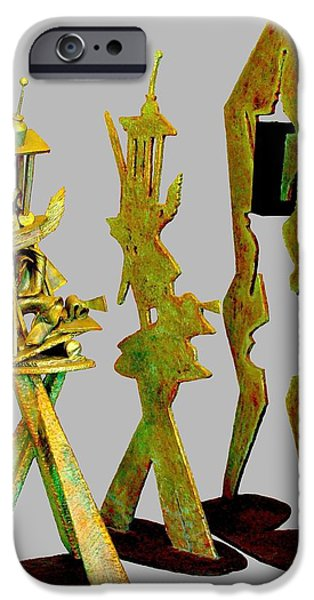 Line Sculptures iPhone Cases - Sculptural Suite In Three Movements iPhone Case by Al Goldfarb