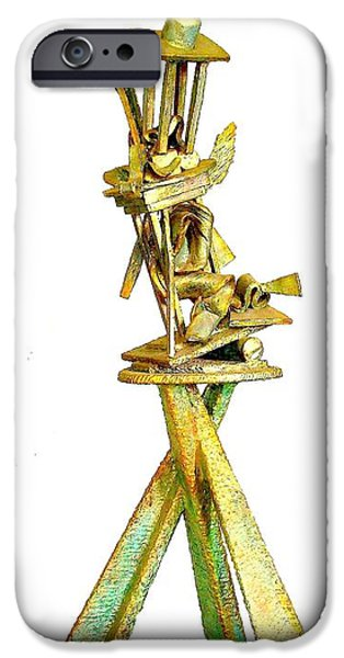 Line Sculptures iPhone Cases - Sculptural Suite In Three Movements  detail iPhone Case by Al Goldfarb