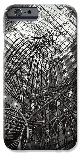 European Sculptures iPhone Cases - Sculpture in the PHS building at the European Parliament of Brussels iPhone Case by Boghiu Gabriela Monica