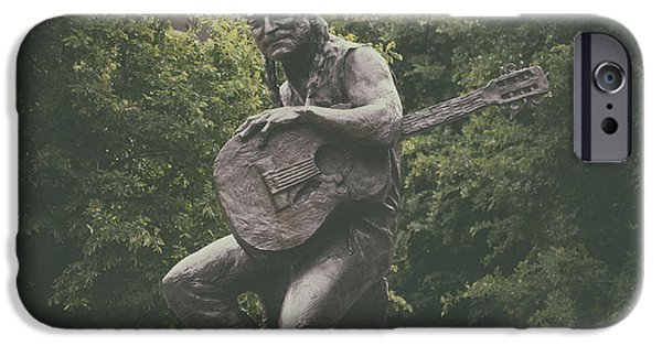 Sculptures iPhone Cases - Sculpture Of Willie Nelson - Austin Texas iPhone Case by Mountain Dreams