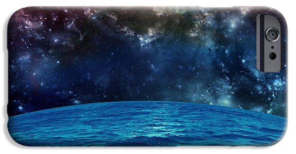 Vacation Digital iPhone Cases - Sea in Space iPhone Case by Rr Co