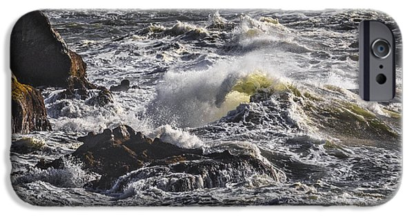Fury iPhone Cases - Sea In Turmoil D2077 iPhone Case by Wes and Dotty Weber