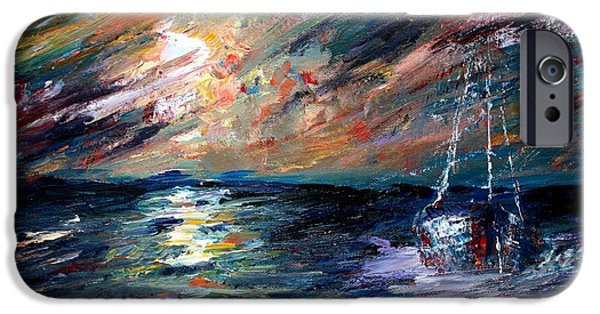 Sailboat Ocean Mixed Media iPhone Cases - Sea of storms iPhone Case by Mike Grubb