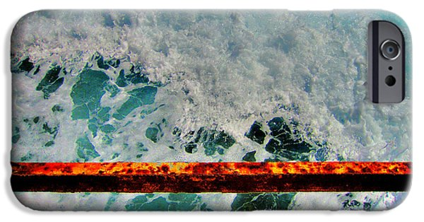 Nature Study iPhone Cases - Sea. Rusty Iron And shock wave.. iPhone Case by Andy Za