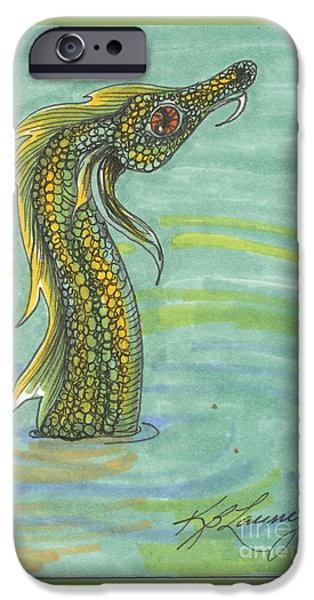 Serpent iPhone Cases - Sea Serpent  iPhone Case by Kathryn Launey