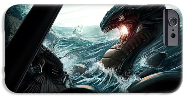 Pirate Ships iPhone Cases - Sea Serpent iPhone Case by Michael Clarke