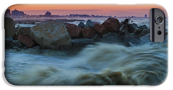 Winter Storm iPhone Cases - Sea storm at sunset iPhone Case by Pier Giorgio Mariani