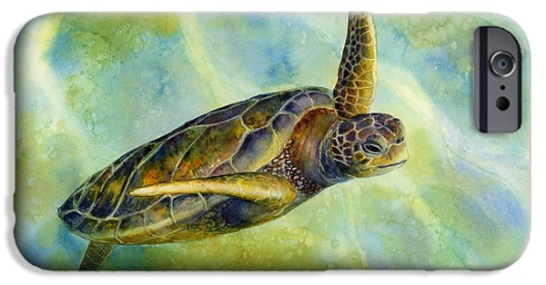 Close iPhone Cases - Sea Turtle 2 iPhone Case by Hailey E Herrera