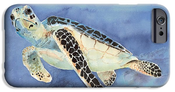 Ocean Turtle Paintings iPhone Cases - Sea Turtle iPhone Case by Arline Wagner