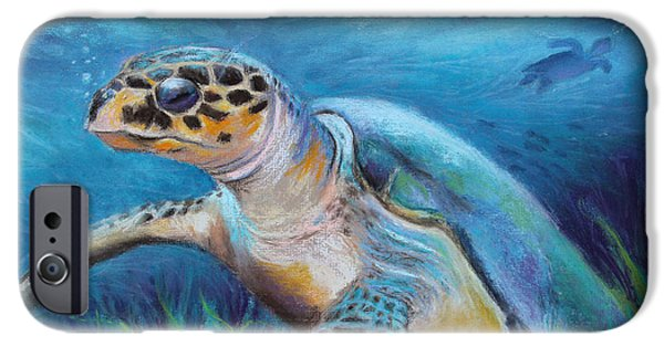 Marine Pastels iPhone Cases - Sea Turtle Cove iPhone Case by Susan Jenkins