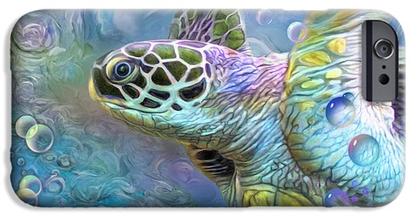 Beach iPhone Cases - Sea Turtle - Spirit Of Serendipity iPhone Case by Carol Cavalaris