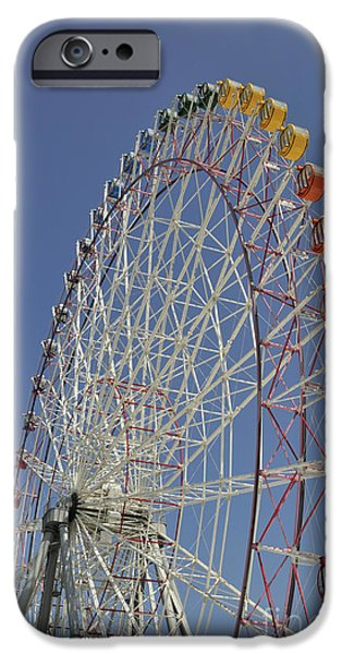 Japan Town iPhone Cases - Seacle Rinku Pleasure Town ferris wheel iPhone Case by Andy Smy