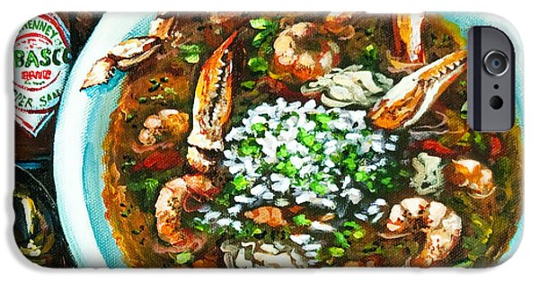 French Quarter Paintings iPhone Cases - Seafood Gumbo iPhone Case by Dianne Parks
