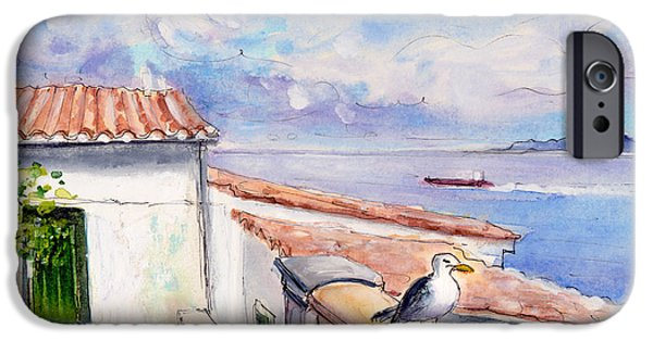 Seagull Drawings iPhone Cases - Seagull In Cap De Formentor iPhone Case by Miki De Goodaboom