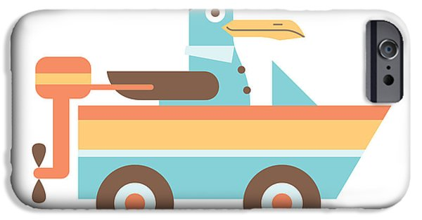 Baby Bird Digital iPhone Cases - Seagull Sailor iPhone Case by Mitch Frey