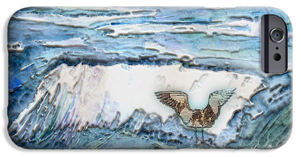 Seagull Mixed Media iPhone Cases - Seagulls In The Surf iPhone Case by Arline Wagner