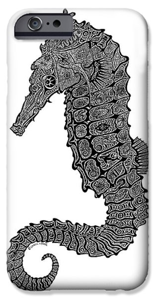 Creative Drawings iPhone Cases - Seahorse iPhone Case by Carol Lynne