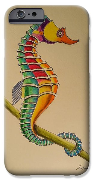 Aquatic Pastels iPhone Cases - Seahorse iPhone Case by Jon Swart