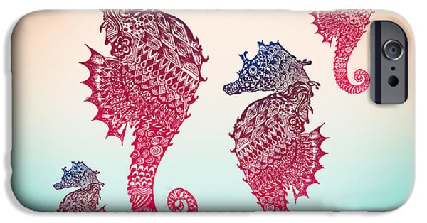 Caricature Posters iPhone Cases - Seahorse iPhone Case by Mark Ashkenazi