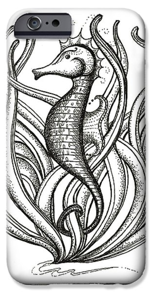 Pen And Ink iPhone Cases - Seahorse iPhone Case by Stephanie Troxell