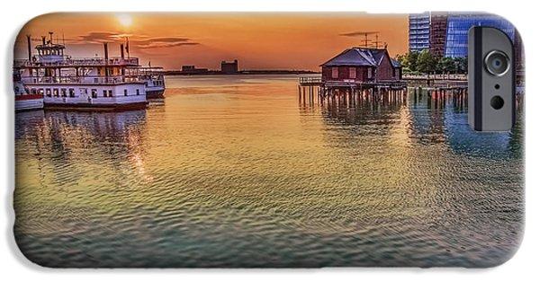 City. Boston iPhone Cases - Seaport Sunrise iPhone Case by Penny Pesaturo