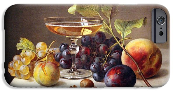 Cora Wandel iPhone Cases - Searles Still Life With Fruit And Champagne iPhone Case by Cora Wandel