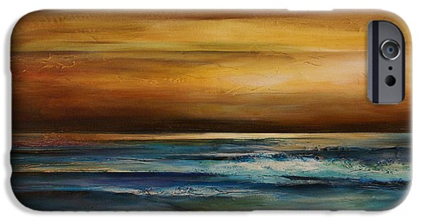 Mood Paintings iPhone Cases - Seascape 1 iPhone Case by Michael Lang