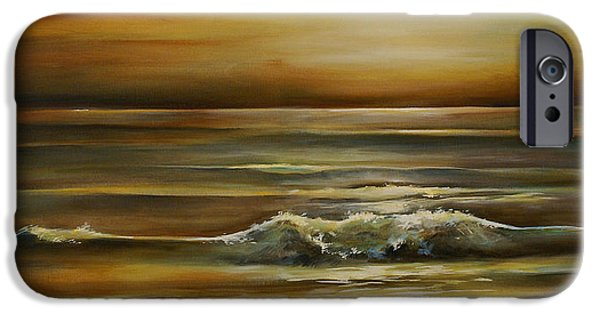 Mood Paintings iPhone Cases - Seascape 2 iPhone Case by Michael Lang