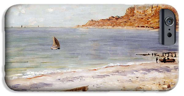 Boat Paintings iPhone Cases - Seascape at Sainte Adresse  iPhone Case by Claude Monet