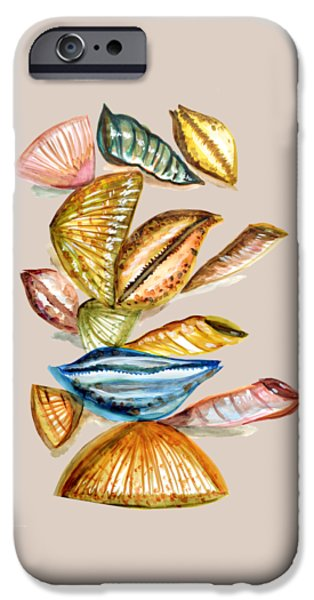 Abstract Digital Drawings iPhone Cases - Seashells iPhone Case by Thecla Correya