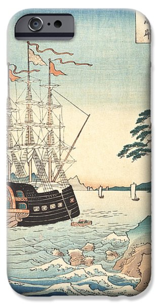 Harbor Drawings iPhone Cases - Seashore in Taishu iPhone Case by Hiroshige