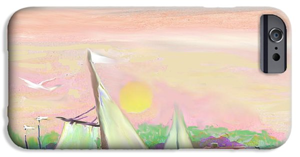 Village Pastels iPhone Cases - Seashore Village iPhone Case by Belinda Threeths