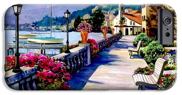 Sailboats In Harbor iPhone Cases - Seaside Pathway iPhone Case by Ronald Chambers