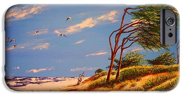 Windblown Paintings iPhone Cases - Seaside Solitude iPhone Case by Peter Kraayvanger