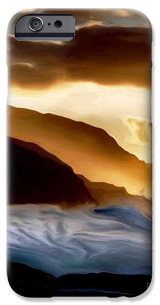 Abstract Digital Photographs iPhone Cases - Seaside Storm iPhone Case by Denise Woldring